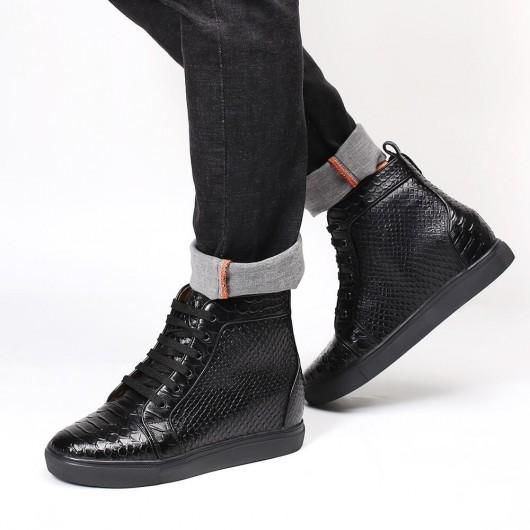 Chamaripa sneakers med høj topløft sort læder skjult hæl sneakers der tilføjer højde 8 cm / 3,15 tommer