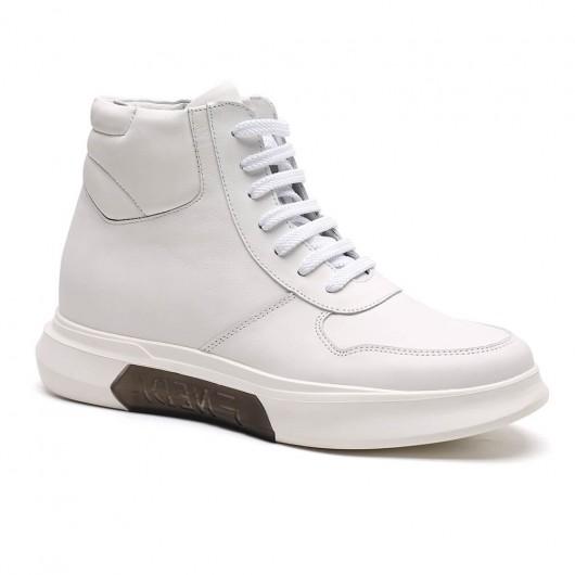 Chamaripa højde stigende sportssko hvide høje top sneakers, der tilføjer højde herresko med hæle 7 CM / 2,76 tommer