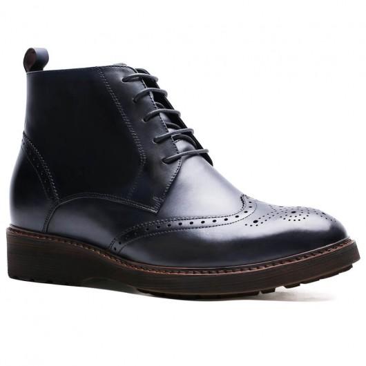 Chamaripa høje mænd støvler højde stigende støvler høje hæle sko til mænd Blue Brogue støvler 7 cm / 2,76 tommer