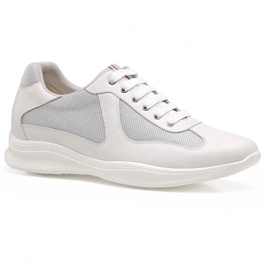 Chamaripa Elevator Sneakers Skjulte hælsko til mænd Hvid læder Sneaker, der tilføjer højde 6 CM /2.36 Inches
