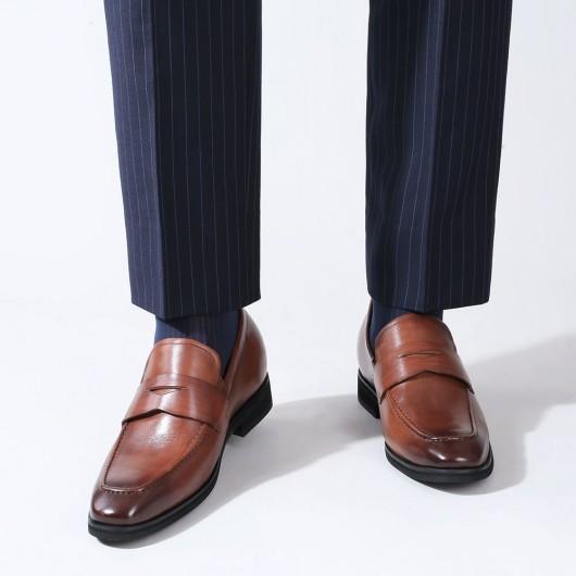 Chamaripa afslappet elevatorsko skjulte højhælsko til mænd brun klassisk slip-on penny loafer 7 CM
