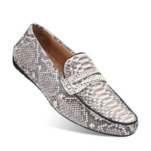 CHAMARIPA snakeskin elevate herre loafers højde hæve sko grå 7 CM