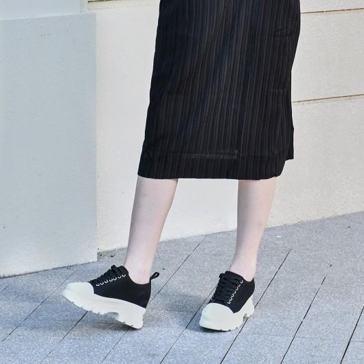 CHAMARIPA kvinders elevatorsko sorte lærred skjulte høje hæle afslappet sko til kvinder 8cm