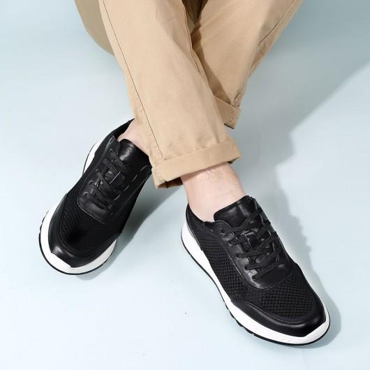CHAMARIPA højde stigende sko - elevate sneakers til mænd - sorte strik sneakers herrer - 5 CM højere