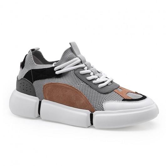 Chamaripa Elevator Sneakers Casual sko der ser højere grå højde hæle sko til mænd 6 cm /2,36 tommer