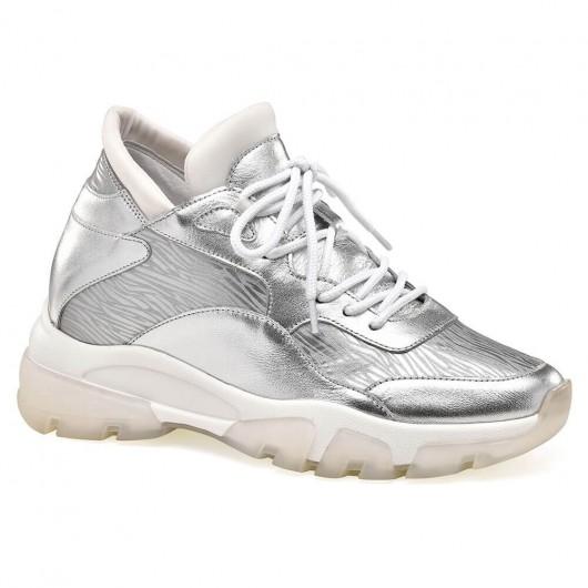 CHAMARIPA højdeforøgende sneakers med skjult hæl til kvinder sølv læder sneakers 8 CM