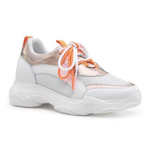 Chamaripa skjult hæl sneakers guld læder elevator sneakers til kvinder der løfter sneakers 8 cm / 3.15 tommer