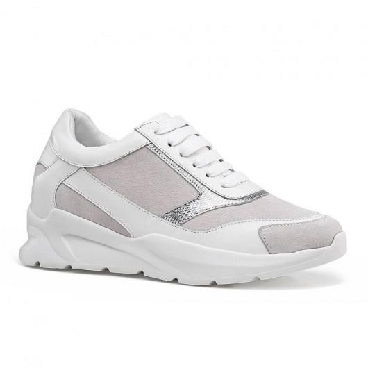 CHAMARIPA kvindes lift sneakers hvid læder højde stigende sko til damer 7cm