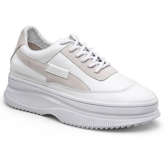 Chamaripa kvinder hvide kile sneakers - skjulte kile sneakers - læder sneakers 9 CM højere