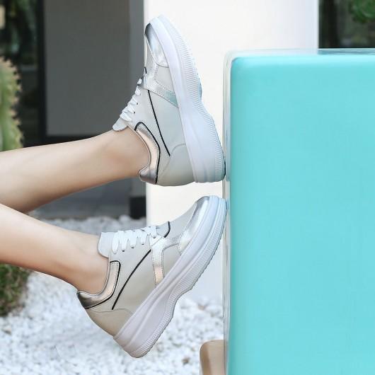 Chamaripa kvinder kile sneakers hvide kilehæl sneakers, der gør dig 9 CM højere