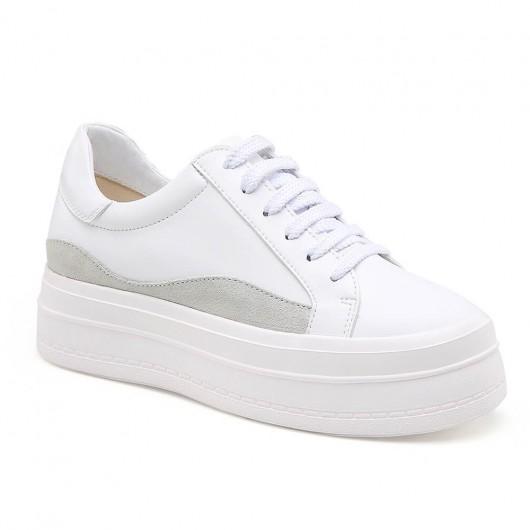 Chamaripa Elevatorsko til kvinder Hvide chunky sneakers Skjulte hælsko 8 CM / 3,15 tommer