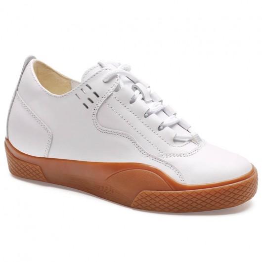 Chamaripa kvinders liftsko afslappet højde stigende sko hvide afslappet sko 6 CM / 2,36 inches