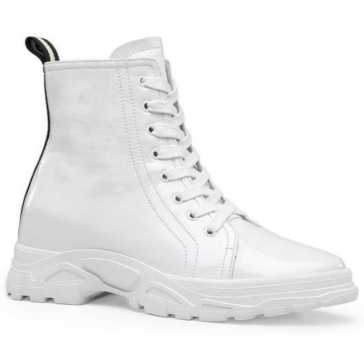 Chamaripa højde stigende støvler hvide kvinder snørrere Elevator støvler 7 cm / 2,76 tommer