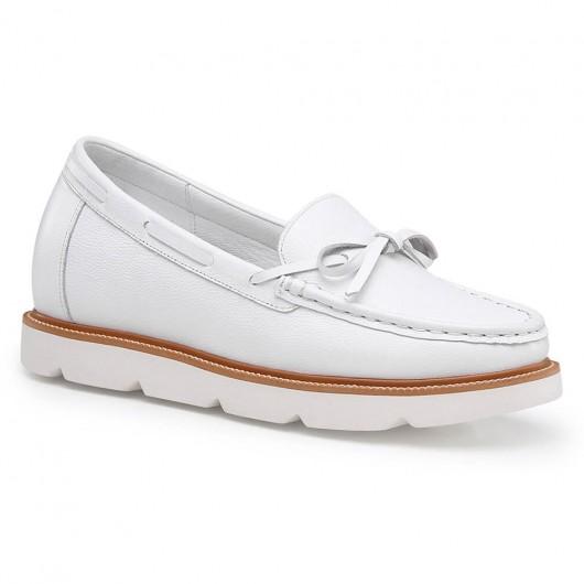 Chamaripa højde stigende sko til kvinder hvid læder loafer elevator sko skjulte hæl sko 7 cm / 2,76 tommer