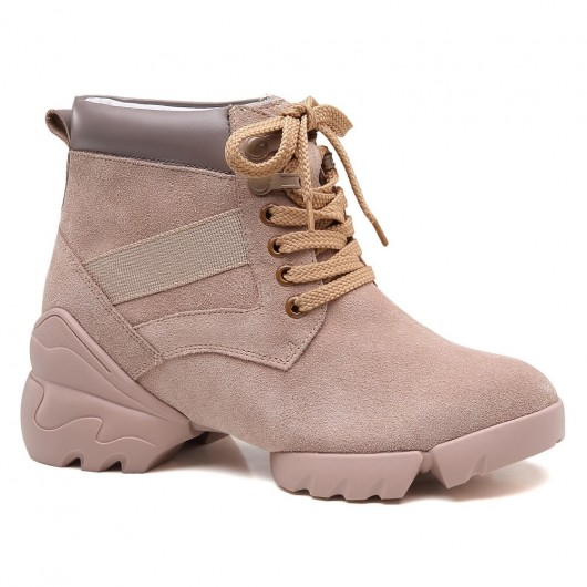 Chamaripa højde stigning støvler skjulte højhæl sko til kvinder abrikos ruskind læder elevatorstøvler 8 CM / 3,15 tommer