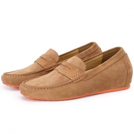 CHAMARIPA loafer til mænd i brun ruskind penny loafer gør dig højere 7 cm