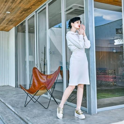 CHAMARIPA kvinders elevator sneakers guld mikrofiber sneakers lift 8 CM