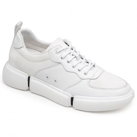 Chamaripa højde stigende sko til mænd hvide afslappet elevatorsko 7 cm / 2,76 tommer