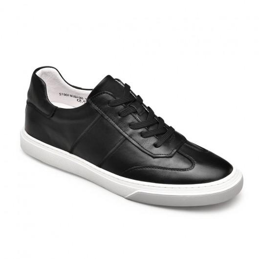 Chamaripa afslappet høje mænd sko sort læder højde stigende sneakers 6 cm / 2,36 tommer