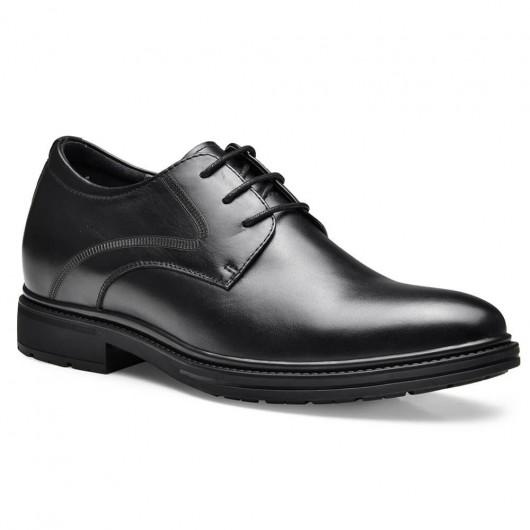 Chamaripa elevatorsko til mænd sort læder højhæl mænd kjoler sko forretning derby sko 7,5 cm / 2,95 tommer