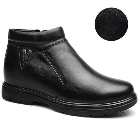 Slip-on Skjulte Heel Støvler Højde Stigende Støvler Plush Foder Varm Lang Mænd Sko 8 CM / 3,15 Tommer