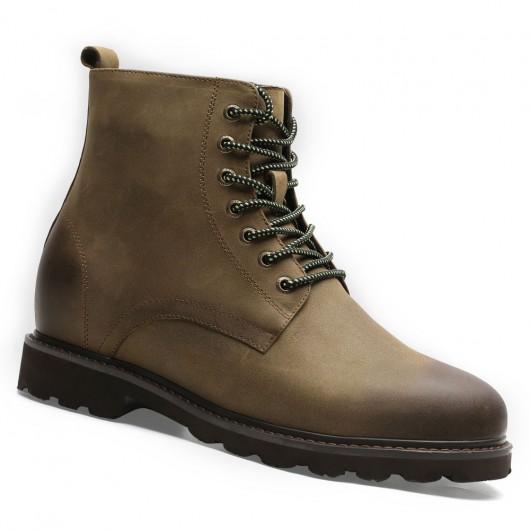 Chamaripa høje mænd støvler højde stigende sko til mænd khaki skjult høj hæl støvler 7 CM / 2.76 tommer