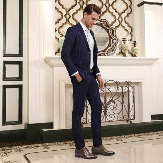 Chamaripa Højhæl Mænd kjole sko Elevator kjole sko Brun Brogue sko for at blive højere 5 cm / 1,95 tommer