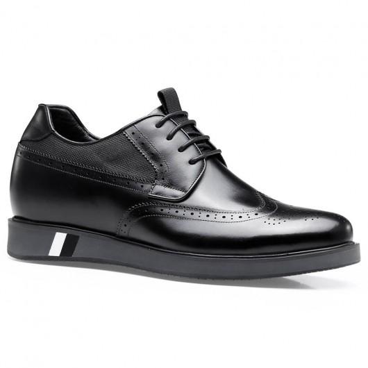 Chamaripa formel højde stigende sort brogue lift sko til mænd forretningssko 7 CM / 2,76 tommer