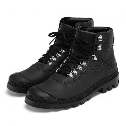 Chamaripa højde stigende sko skjulte hæl sko ankelhøj sort kalveskind vandrestøvle til mænd 7CM