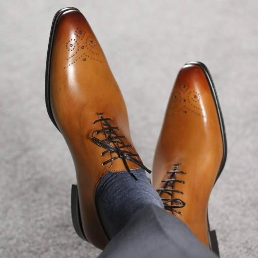 chamaripa højde stigende kjole sko højhæl mænd kjole sko wholecut oxford brogue brun 7 cm / 2,76 inches