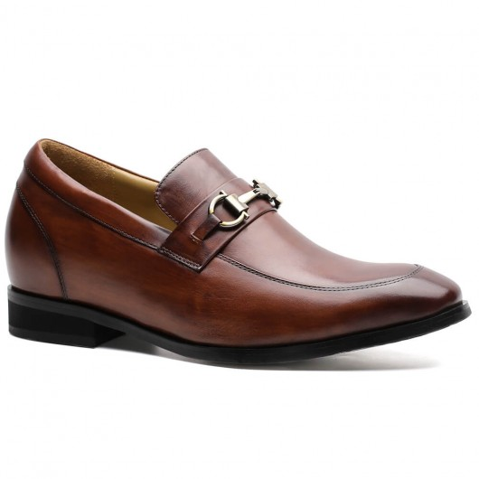 Chamaripa skjult hæl loafer sko elevator sko til mænd brun læder højde øge sko 7 CM / 2,76 tommer