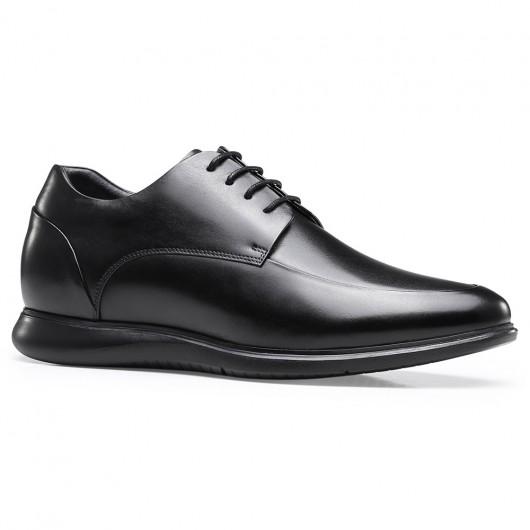 Chamaripa elevatorsko af sort læder Højde stigende Derby-sko, der gør dig højere 6,5 cm / 2,56 tommer