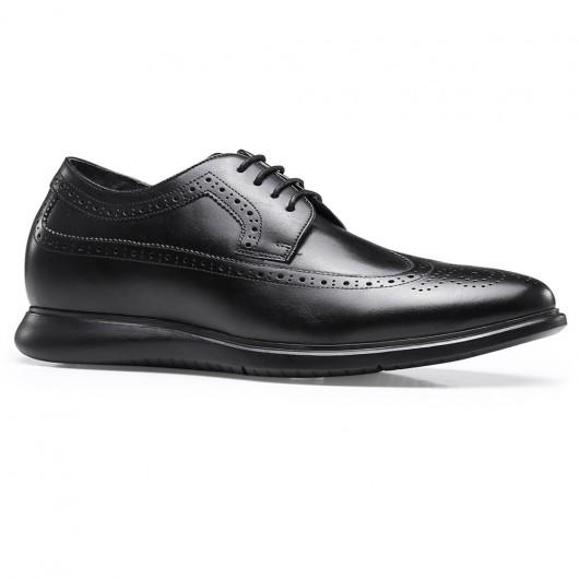 Chamaripa højde stigende kjole sko sort læder højhæl sko til mænd Brogue vingespids sko 6,5 cm / 2,56 tommer