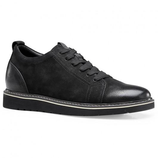 Chamaripa højde stigende afslappet sko skjult højhæl sko til mænd sort 6,5 cm / 2,56 tommer