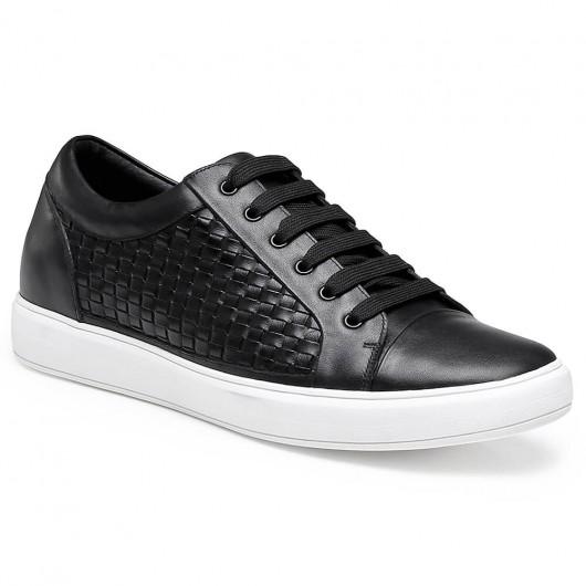 Chamaripa højde stigende sko sort Elevator sneaker vævet læder afslappet sko 6 cm /2,36 tommer