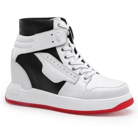 Chamaripa højde stigende sneakers herre sneakers, der tilføjer højde hvid høj top snøre sportssko 10 cm / 3,94 tommer