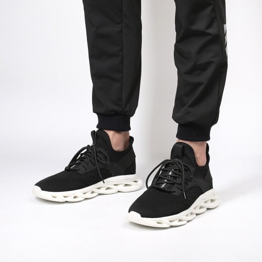 Chamaripa Elevator-sneakers Højere stigende sportssko Sort strikkede sneakers med hæl 5 cm / 1,95 tommer