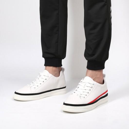 Chamaripa Elevator Sneakers Skjulte hæle sko til mænd Højde Forøg sko Hvid 5,5 CM / 2,17 tommer