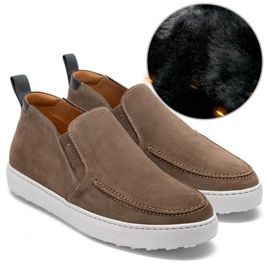 CHAMARIPA mænds lift casual sko højde stigende sko til mænd khaki ruskind læder 7 CM