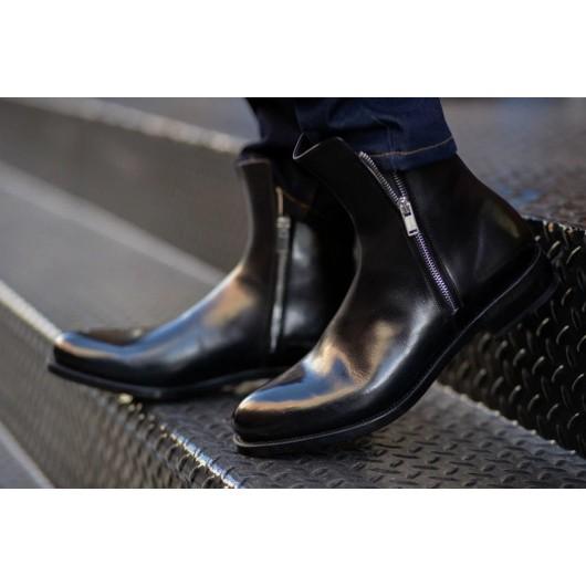 CHAMARIPA mænds liftsko højhælede mændstøvler sorte læderstøvler med lynlås 7 CM