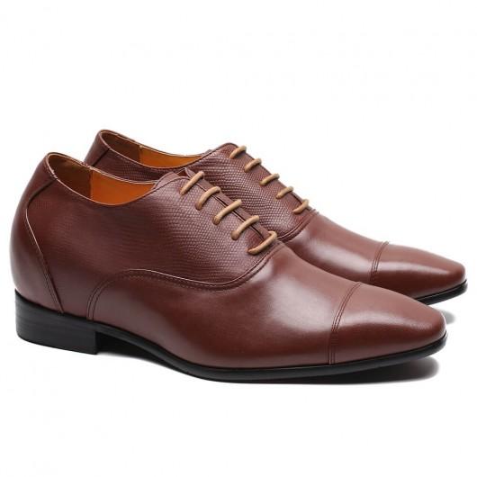 CHAMARIPA kjolehøjde stigende elevatorsko til mænd brun læder højere sko 7 cm