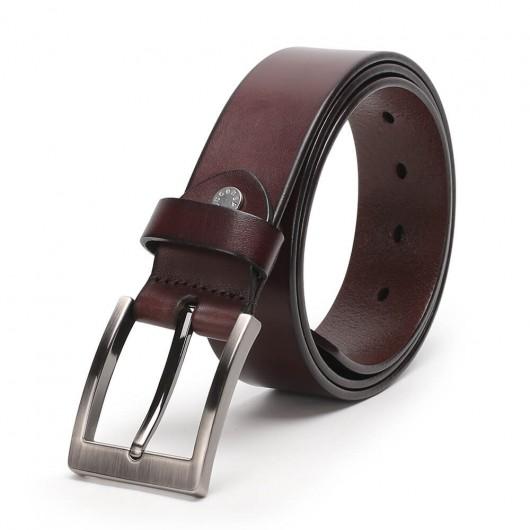 Chamaripa Men's Belts Genuine Handmade Leather Belt with Buckle Dark Brown