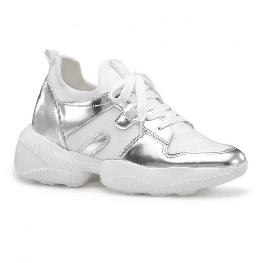 Chamaripa kvinder elevator sneakers sølv læder højde stigende sneakers afslappet sko 9 cm / 3,54 tommer