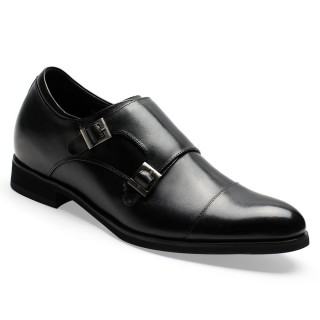 Height Increasing Shoes Men's Cap-Toe Monkstrap Elevator Dress Shoes 7 CM/ 2.76 inches