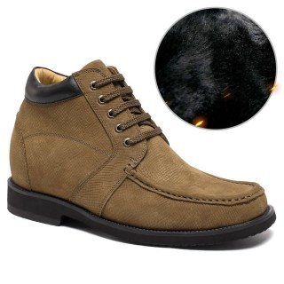 Yellow Suede Leather Height Insoles Casual Shoes For Men