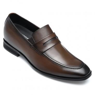 CHAMARIPA Højde stigende sko Formelle høje mænds sko Khaki Slip på Penny Loafers 7 CM højere