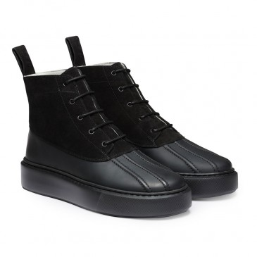 CHAMARIPA kvinders kile sneaker støvler - høj top kile sneakers - sorte ruskind tykke støvler 7 CM højere