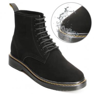 CHAMARIPA højdeforøgende elevatorstøvler vandtætte sorte nubuck læderstøvler, der gør dig højere 8 CM / 3,15 tommer