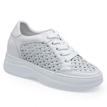 CHAMARIPA kile sneakers - kvinders læder hule ud kilehæl sneakers - hvide / grønne sneakers til kvinder - 8 CM højere