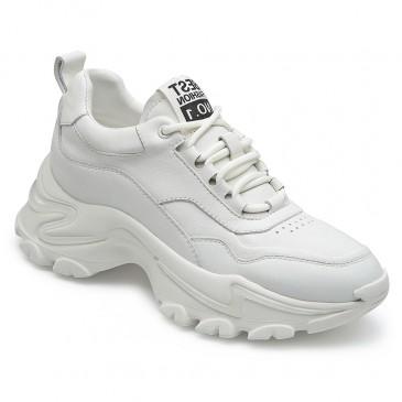 CHAMARIPA chunky sneaker til kvinder højde stigende elevator sko hvide læder sneakers 7 CM højere